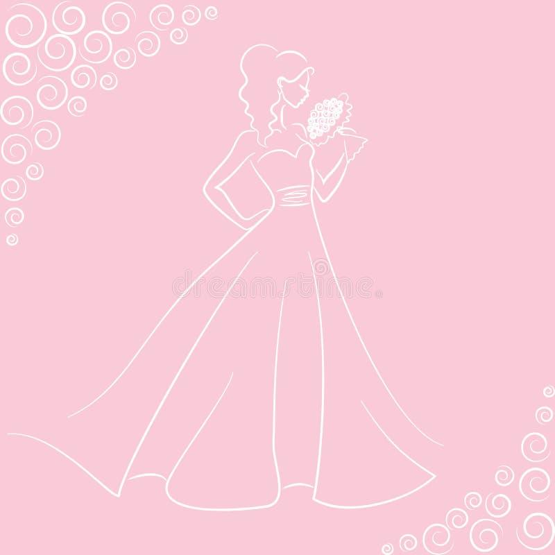 Sposa con il mazzo illustrazione di stock