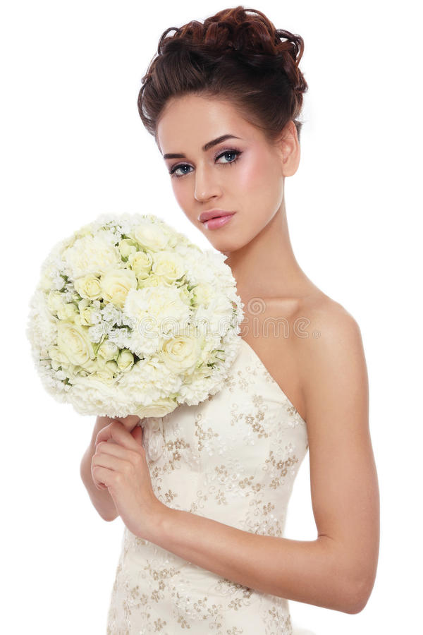 Sposa con il mazzo fotografie stock libere da diritti