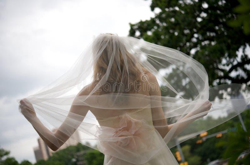 Sposa con il velare che scorre dietro lei fotografia stock libera da diritti
