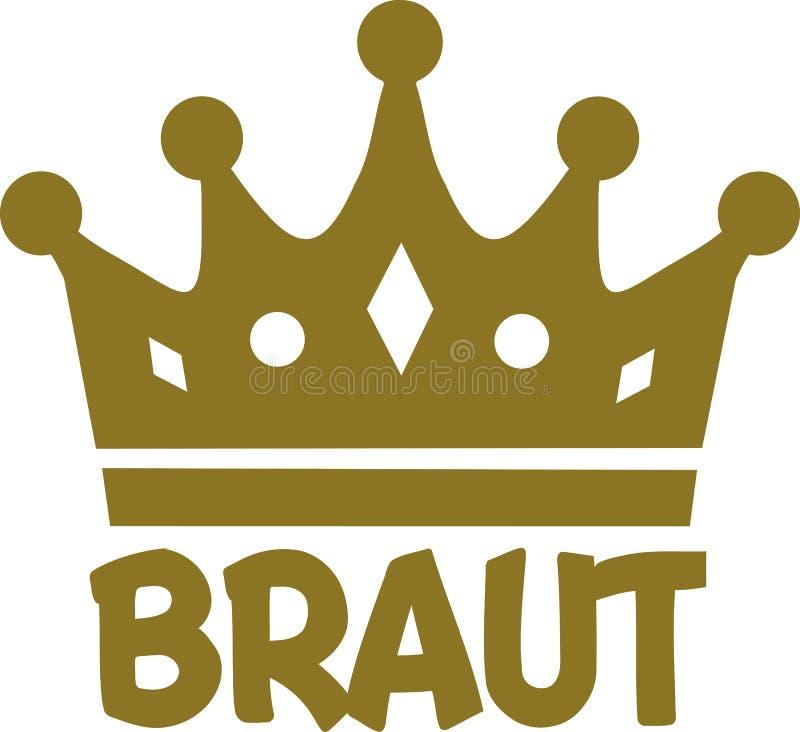 Sposa con la corona dorata - tedesco illustrazione vettoriale