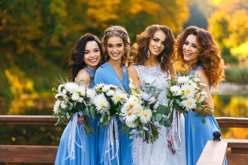 Sposa con le damigelle d'onore immagini stock libere da diritti