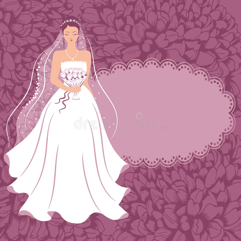 Sposa con un mazzo. illustrazione vettoriale