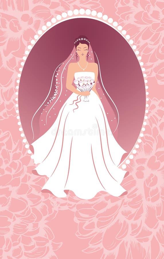 Sposa con un mazzo. royalty illustrazione gratis
