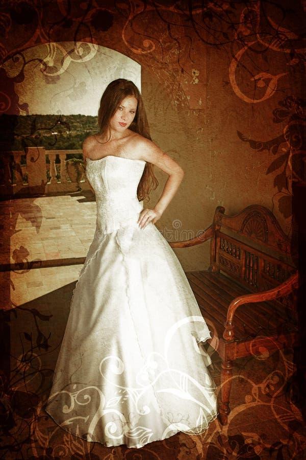 Sposa del brunette di Grunge fotografia stock libera da diritti