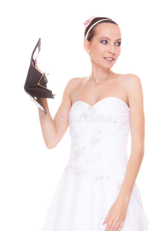 Sposa della donna con il portafoglio vuoto Spese di nozze fotografie stock