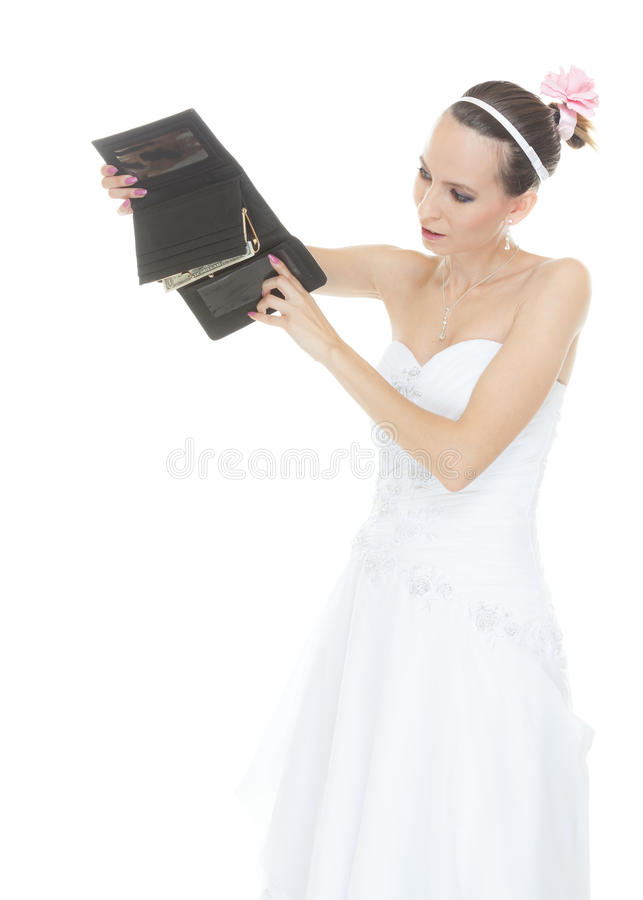 Sposa della donna con il portafoglio vuoto Spese di nozze immagini stock