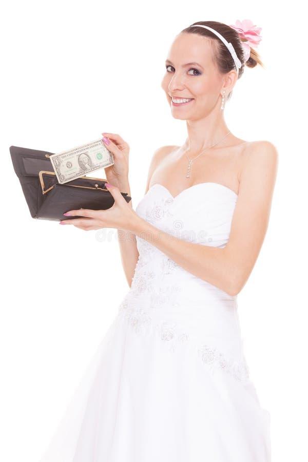 Sposa della donna con un dollaro Spese di nozze fotografia stock