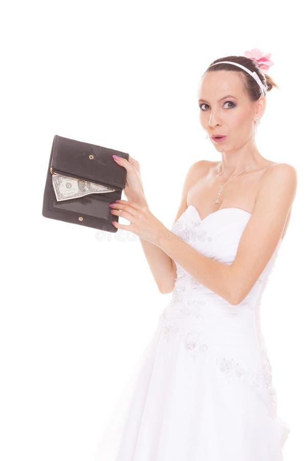 Sposa della donna con un dollaro Spese di nozze immagini stock libere da diritti