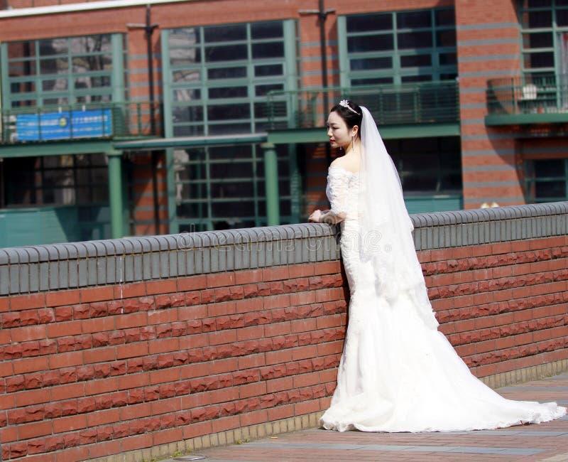 Sposa della ragazza in vestito da sposa con una bella corona imperiale fotografie stock