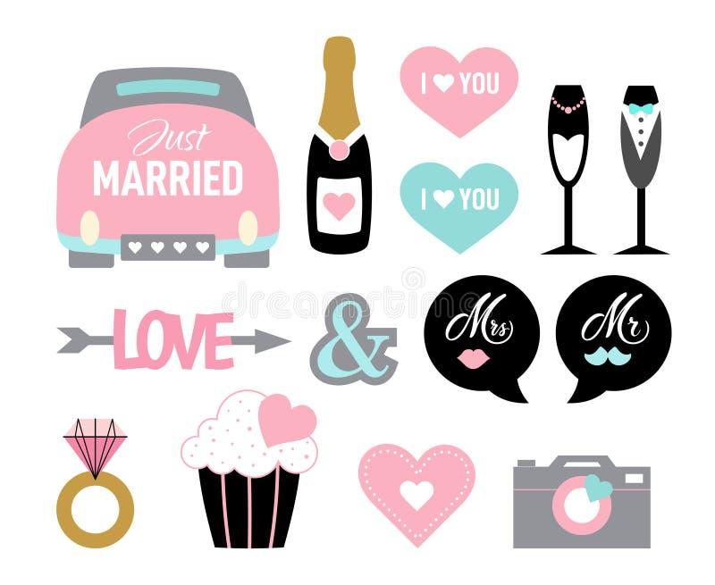 Sposa di matrimonio di stile del fumetto dell'insieme dell'icona di nozze illustrazione di stock