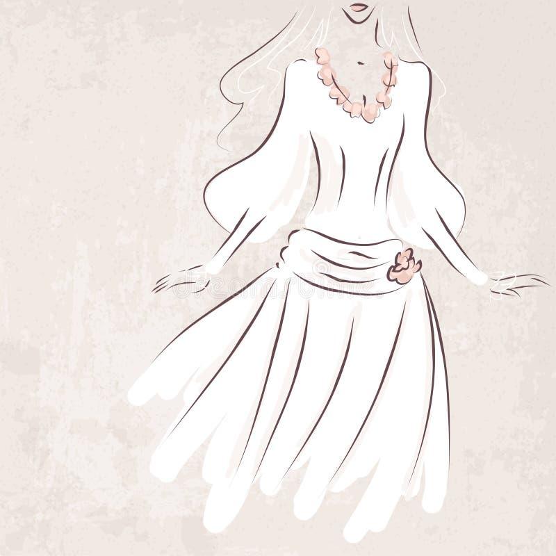 Sposa di schizzo in vestito da sposa su fondo grungy illustrazione vettoriale