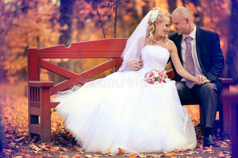 Sposa e sposo che camminano nel parco di autunno fotografia stock