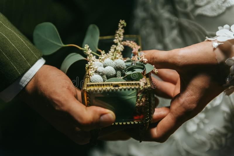 Sposa e sposo che si tengono per mano e bella fede nuziale sulla sua mano Coppie romantiche che si tengono mano del ` s a immagini stock libere da diritti