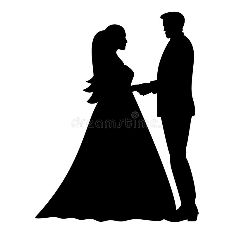 Sposa e sposo che si tengono per mano immagine semplice di colore dell'icona di stile piano nero dell'illustrazione royalty illustrazione gratis