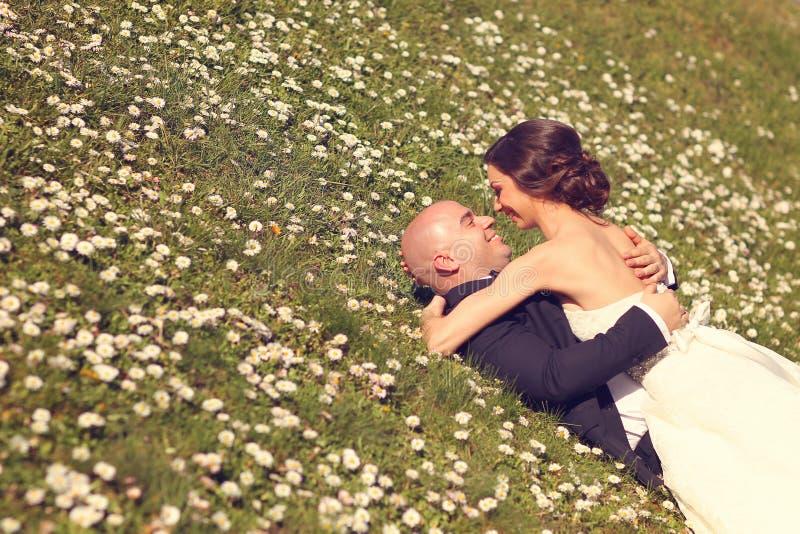 Sposa e sposo che si trovano sull'erba fotografia stock libera da diritti