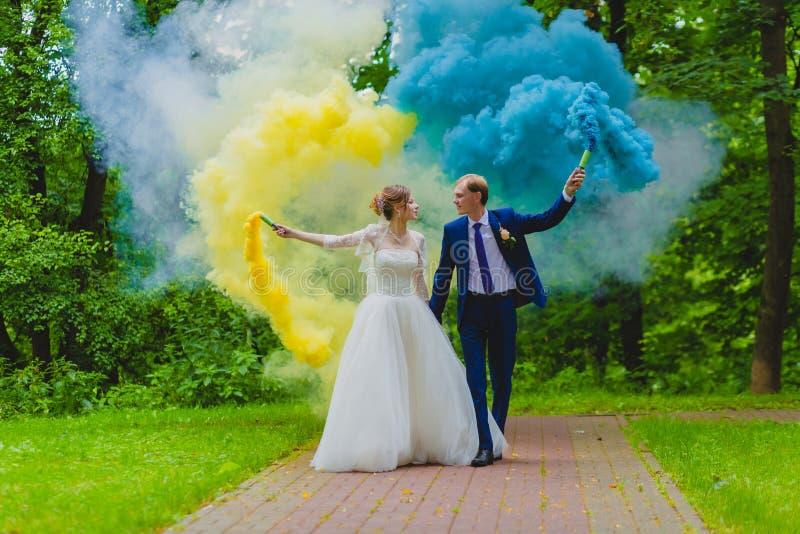 Sposa e sposo con le bombe fumogene variopinte fotografia stock libera da diritti