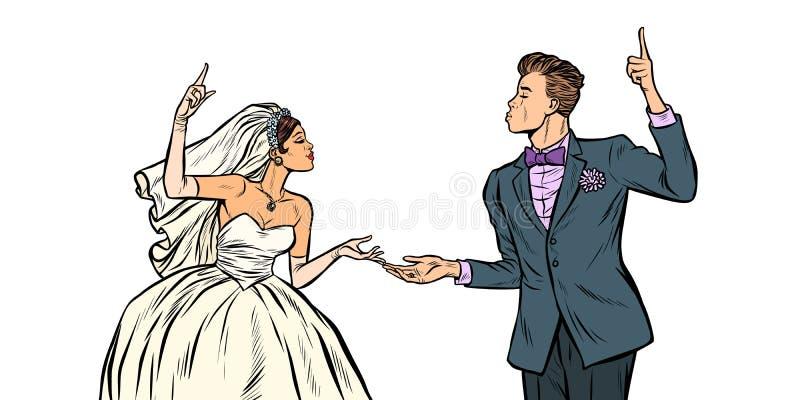 Sposa e sposo, coppia di nozze illustrazione vettoriale