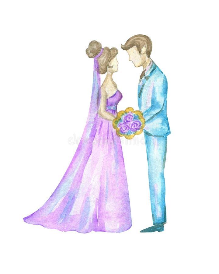 Sposa e sposo dell'acquerello illustrazione di stock