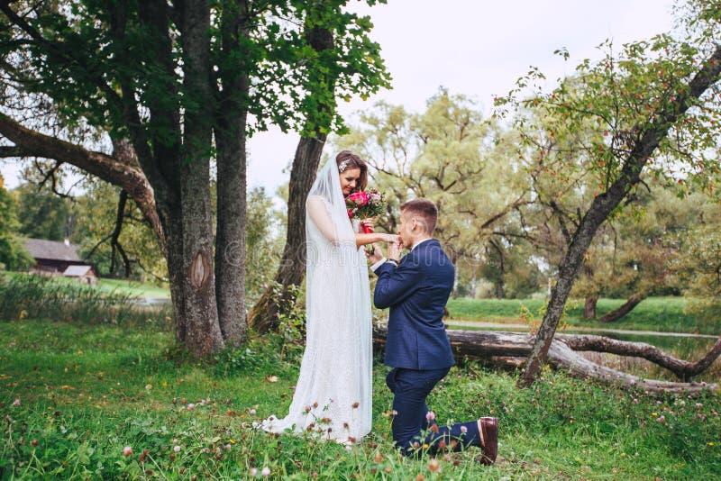 Sposa e sposo felici sulle loro nozze immagini stock