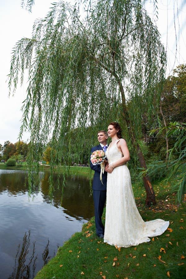 Sposa e sposo felici vicino al lago fotografie stock