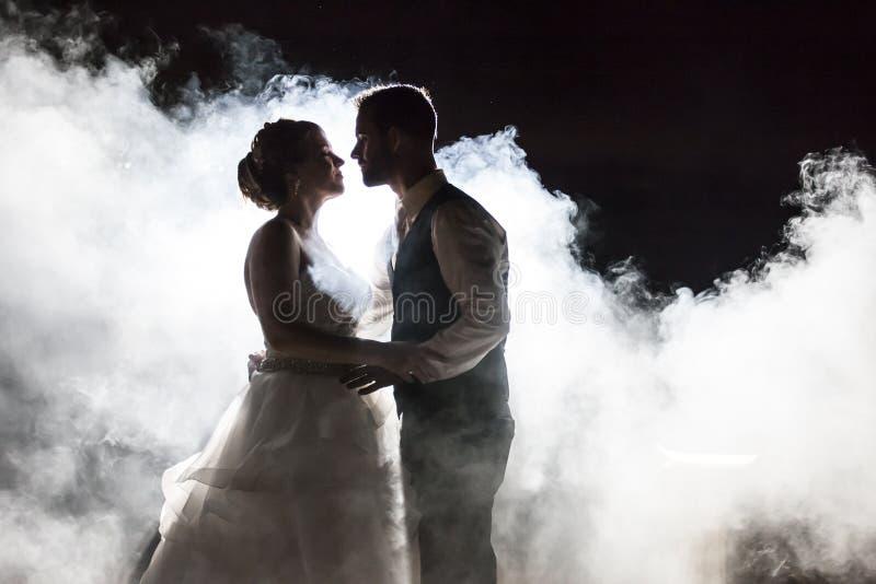 Sposa e sposo in nebbia alla notte immagine stock