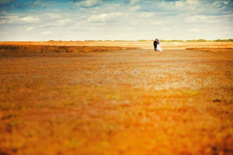 Sposa e sposo nel campo di autunno fotografie stock libere da diritti