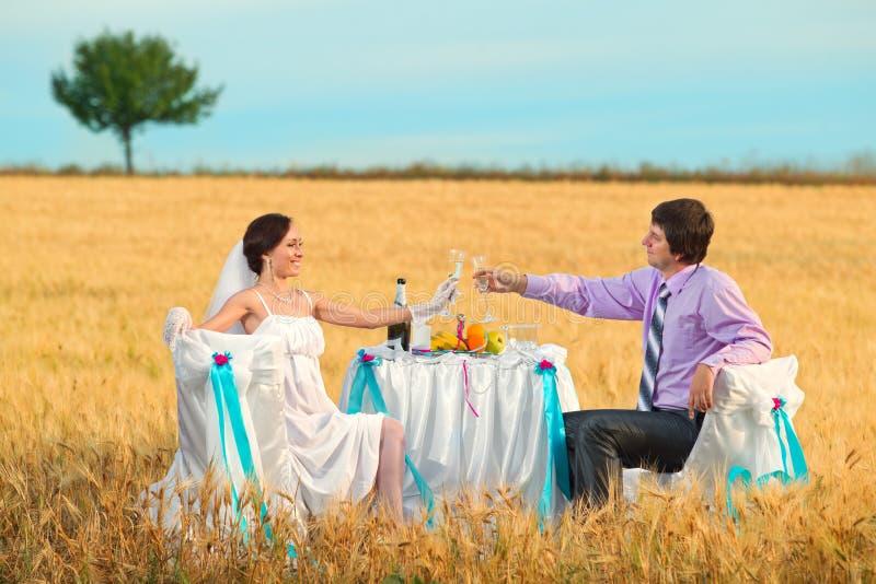 Download Sposa E Sposo Sul Giacimento Di Grano Fotografia Stock - Immagine di champagne, banquet: 30830222