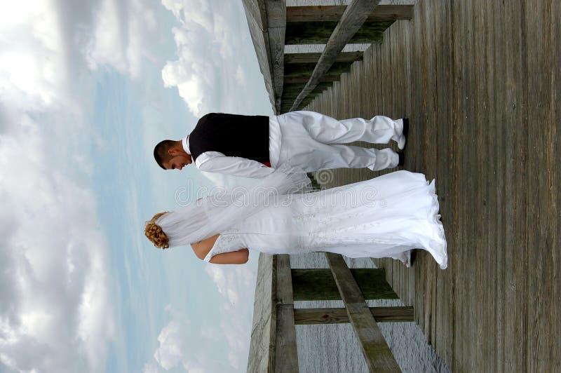 Sposa e sposo sul sentiero costiero immagini stock