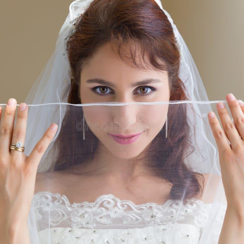 Sposa felice che guarda con il velo puro immagini stock