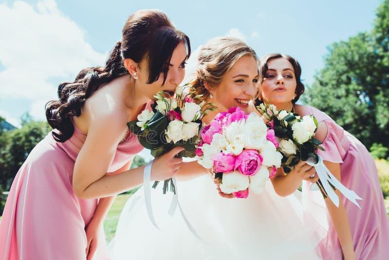 Sposa felice con le damigelle d'onore nel parco sul giorno delle nozze fotografia stock
