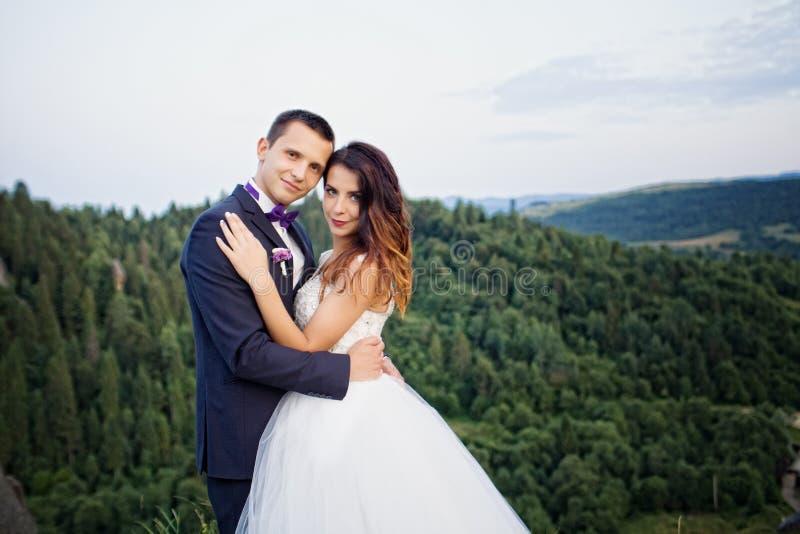 Sposa felice di lusso e sposo alla moda che baciano su un fondo di vi immagine stock