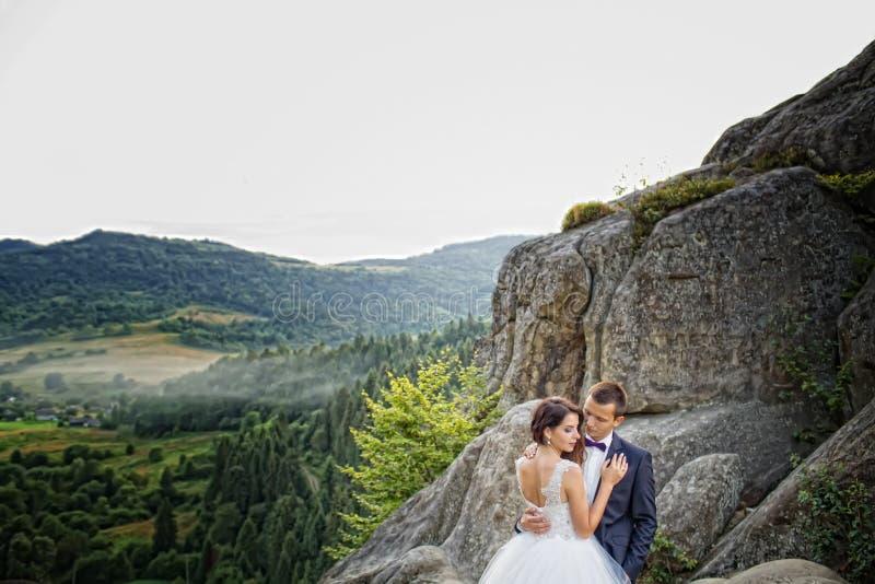 Sposa felice di lusso e sposo alla moda che si abbracciano con dieci immagine stock