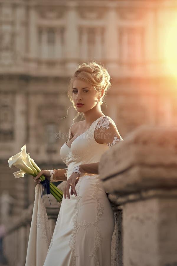 Sposa graziosa sul ponte fotografia stock