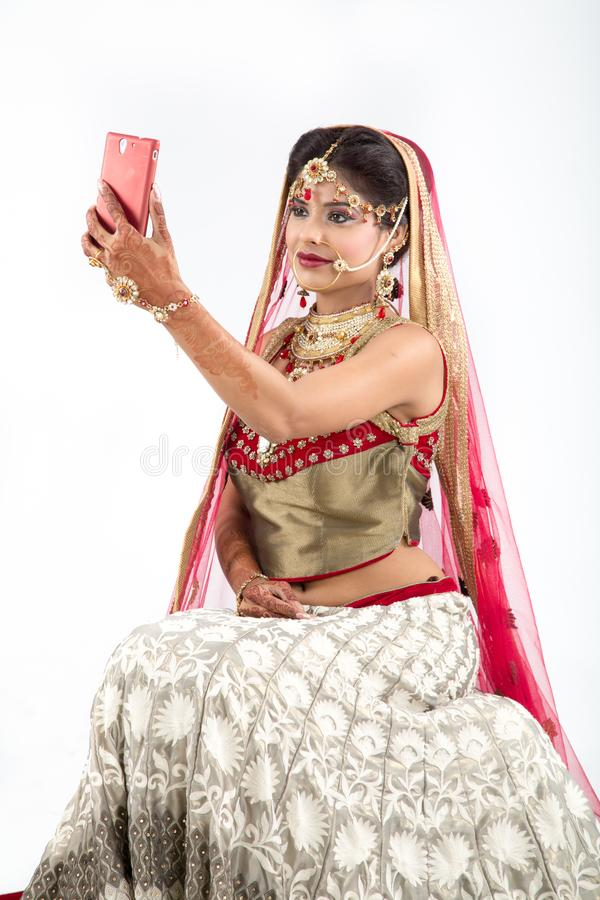 Sposa indiana Selfie fotografia stock