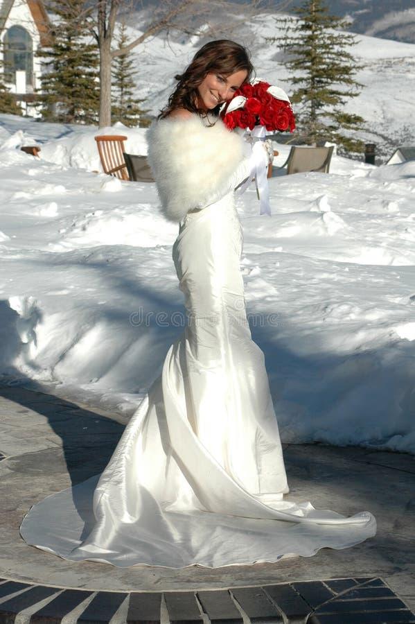 Sposa nella neve fotografia stock