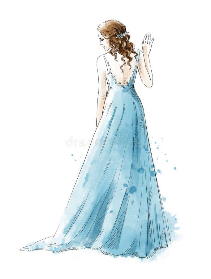 Sposa Ragazza in un vestito lungo, stile dell'acquerello illustrazione di stock