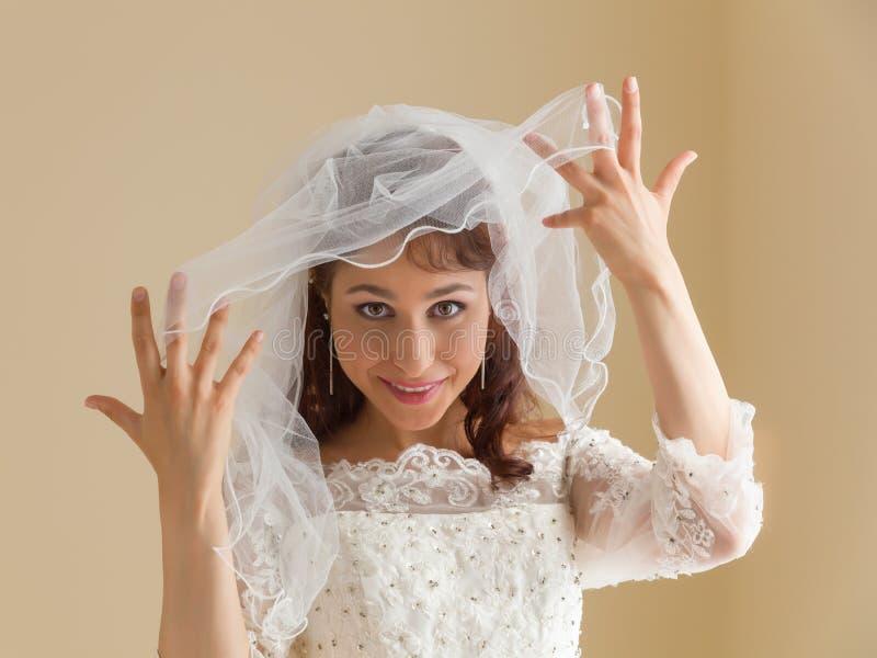 Sposa splendida con il velo bianco fotografia stock libera da diritti