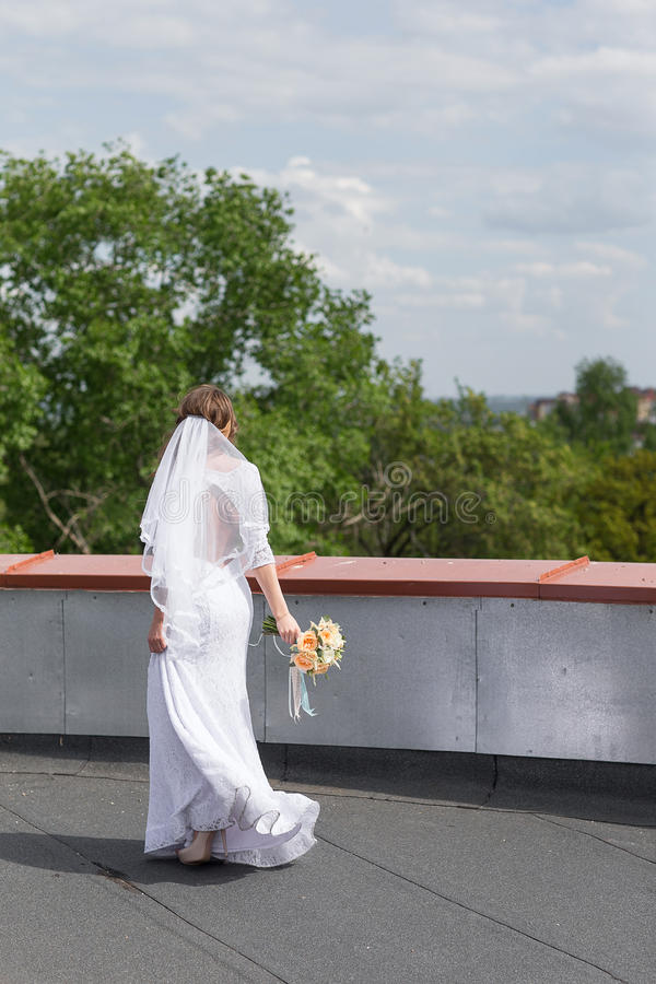 Sposa sul tetto della città immagine stock libera da diritti