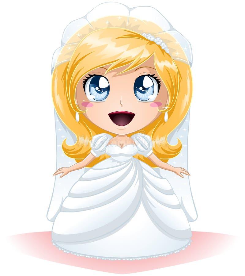 Sposa vestita per il suo giorno delle nozze illustrazione di stock