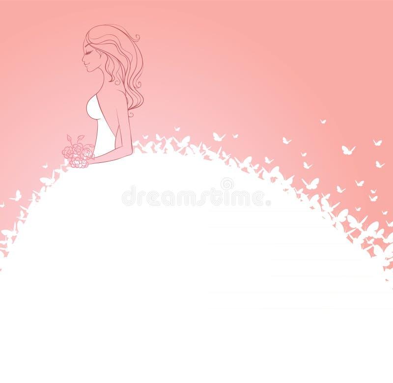 Sposa in vestito bianco royalty illustrazione gratis