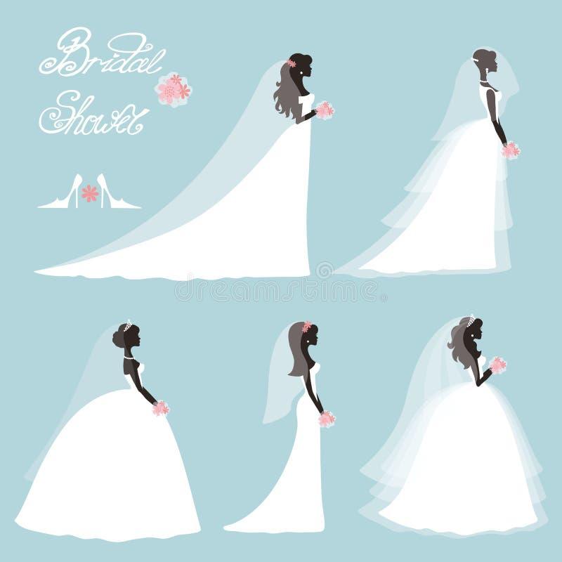 Sposa in vestito Insieme nuziale della doccia di nozze Siluetta piana illustrazione vettoriale