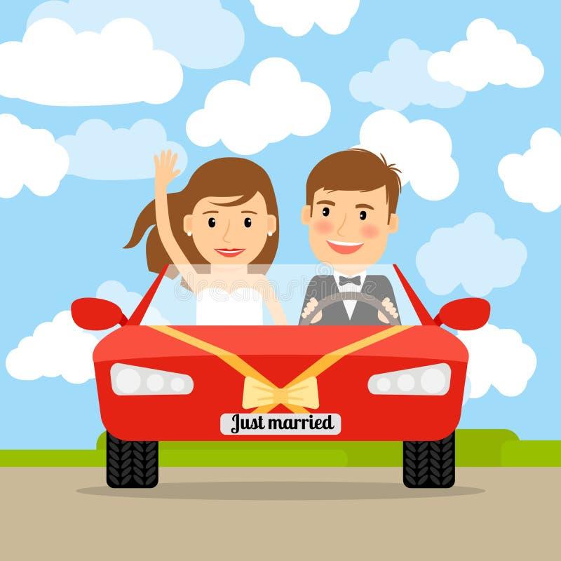 Sposato appena in automobile rossa illustrazione di stock