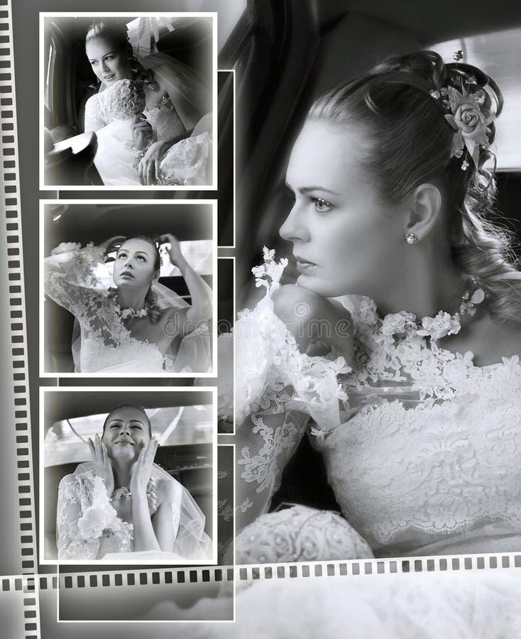 Spose che wedding il montaggio dell'album fotografia stock libera da diritti