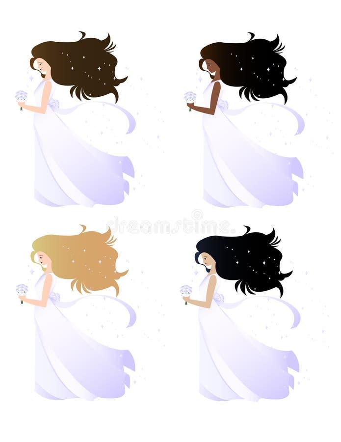 Spose con capelli scintillanti illustrazione vettoriale