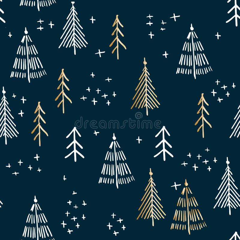 Sposi il modello dell'albero di Natale e di Natale, grafici del a mano disegno di vettore illustrazione di stock
