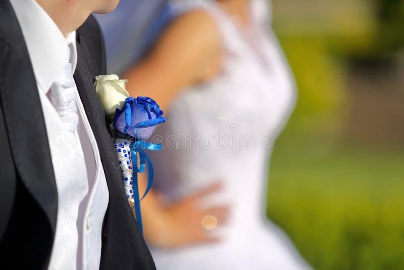 Sposo con l'occhiello della rosa del blu di nozze immagini stock