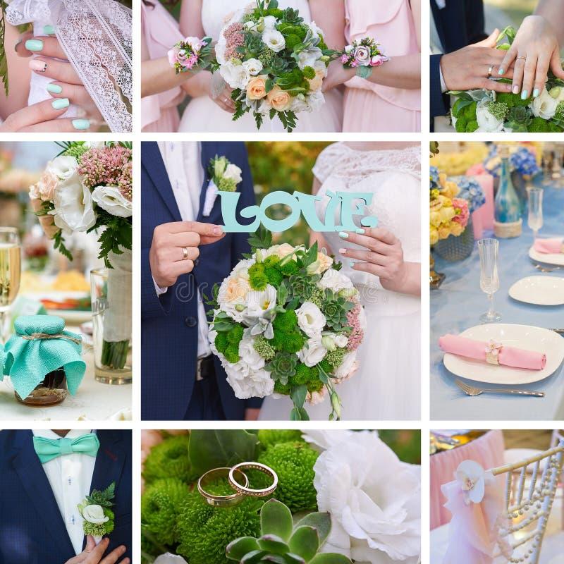 Sposo della sposa del collage di nozze, attributi del mazzo ed anelli fotografia stock libera da diritti