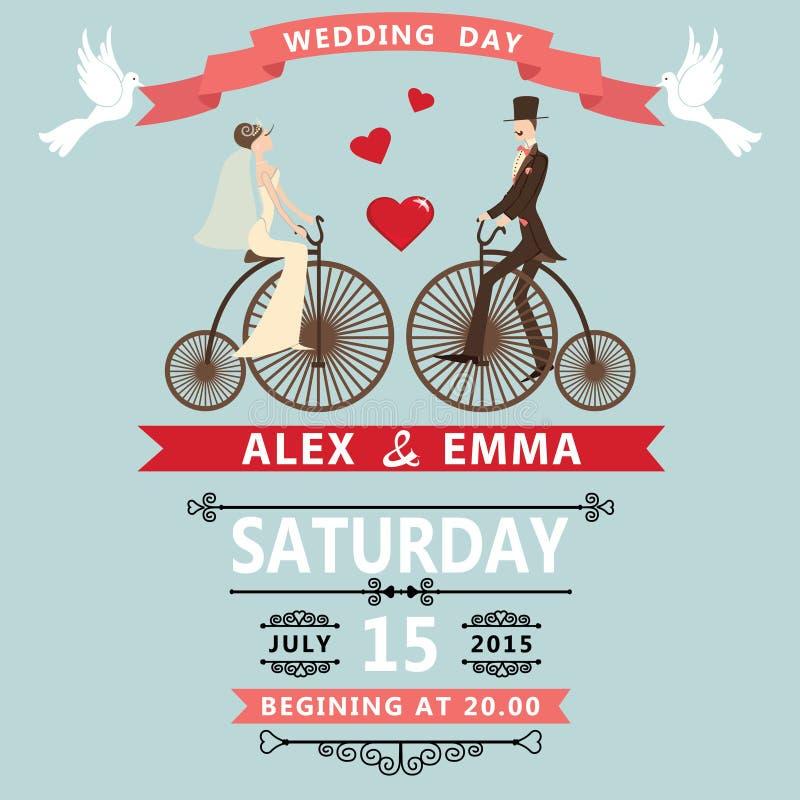Sposo della sposa del fumetto sulla retro bici Invito di cerimonia nuziale illustrazione di stock