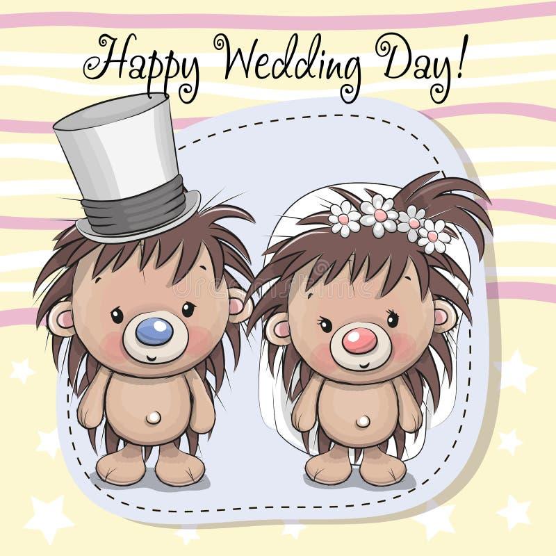 Sposo della sposa dell'istrice e dell'istrice illustrazione di stock