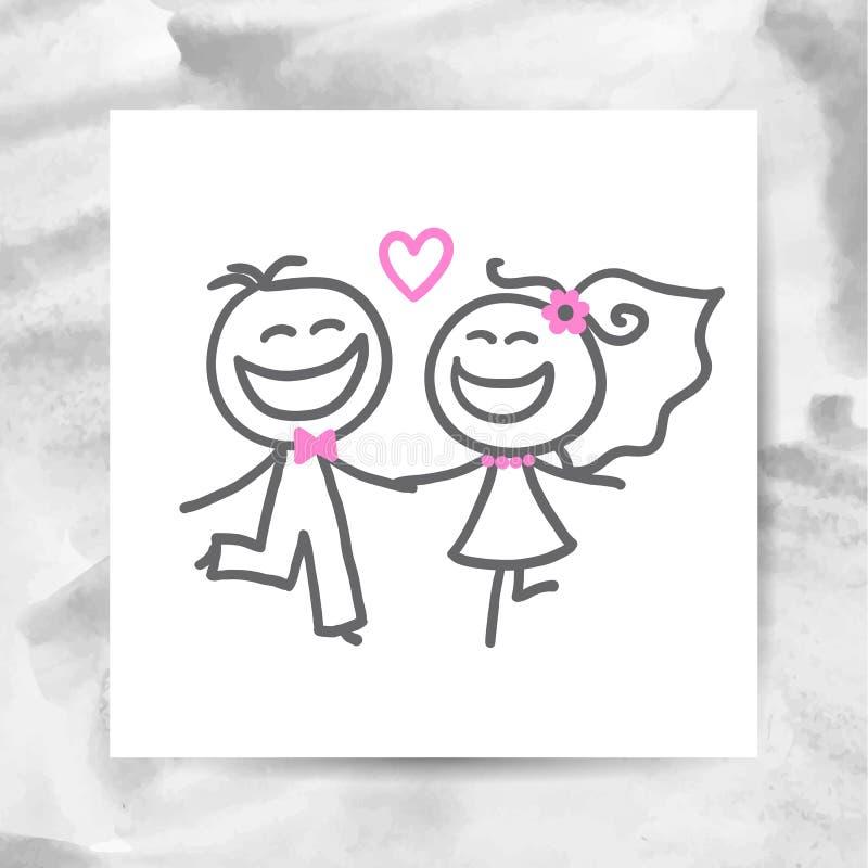 Sposo e sposa royalty illustrazione gratis